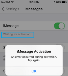 iMessage waiting for Activation Error Fix