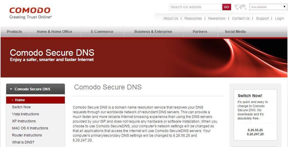 Comodo Secure DNS Server