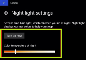 Night Light in Windows 10